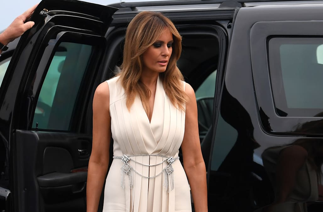 Melania Trump hits up the G7 Summit in Calvin Klein, Gucci — and silver high heels - AOL