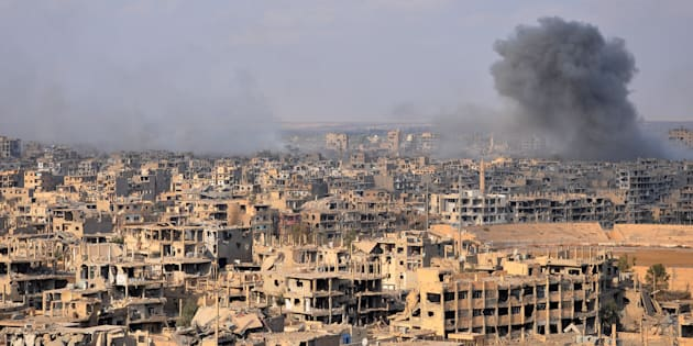 La ville syrienne de Deir ez-Zor lors d'une opération anti-Daech menée par le gouvernement syrien, le 2 novembre.