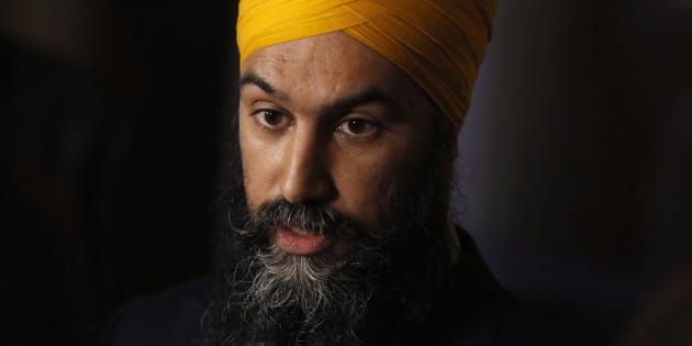 NDP leader Jagmeet Singh speaks to reporters about the Trans Mountain pipeline expansion on Parliament Hill in Ottawa on April 11, 2018.