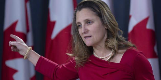 Foreign Affairs Minister Chrystia Freeland speaks with the media during a news conference in Ottawa on Dec. 12, 2018.