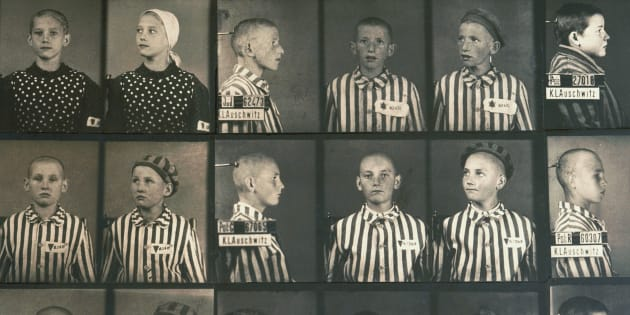 Photographs of Polish and German children murdered by the Nazis in the Auschwitz concentration camp museum, Poland.