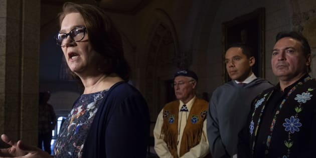 Metis National Council President Clement Chartier, President of the Inuit Tapiriit Kanatami Natan Obed and Assembly of First Nations Chief Perry Bellegarde listen to Indigenous Services Minister Jane Philpott respond to a question in Ottawa, on Nov. 30, 2018.
