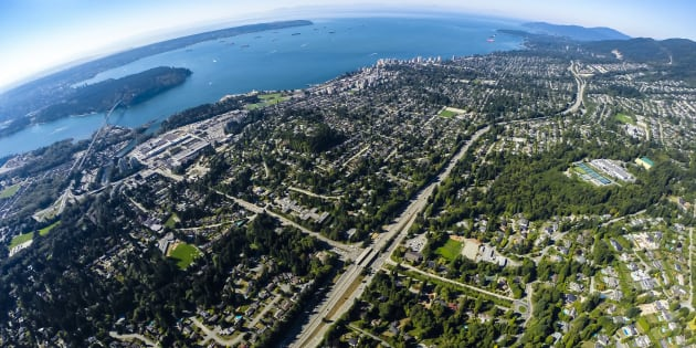 An aerial view of West Vancouver, one of Canada's most pricey real estate markets. The Vancouver region has fallen from first place to dead last in a global ranking of luxury housing markets.