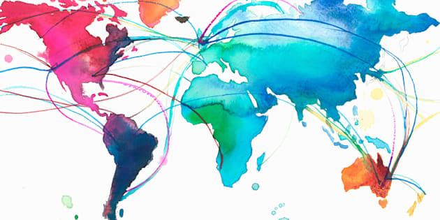 United Kingdom with connections across multicolored world map