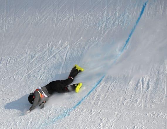 Swiss skier crashes painfully during Winter Olympics