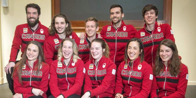 De gauche à droite en haut : Kasandra Bradette, Marianne St-Gelais, Kim Boutin, Valerie Maltais, Jamie Macdonald. En bas :  Charles Hamelin, Samuel Girard, Pascal Dion, Francois Hamelin, Charle Cournoyer.