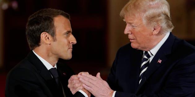 Le président Emmanuel Macron avec son homologue américain Donald Trump lors de sa visite d'Etat à Washington.