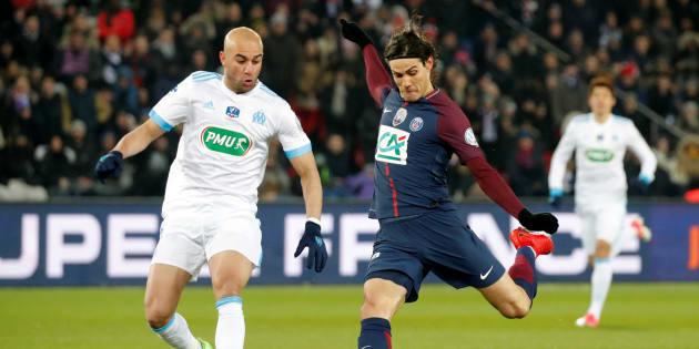 Edinson Cavani a inscrit le 3e but contre l'OM en Coupe de France ce 28 février 2018.