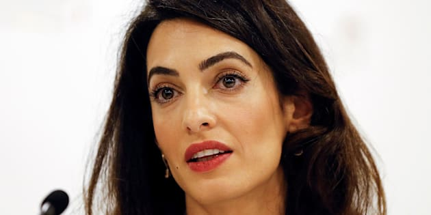Amal Clooney, legal counsel to Mohamed Nasheed, speaks during a press conference, in London, Monday, Oct. 5, 2015. Human rights lawyer Clooney says the imprisonment of former Maldives President Mohamed Nasheed symbolizes a turn toward autocracy and extremism by a Muslim nation with the worlds highest per-capita level of recruitment to the Islamic State group. (AP Photo/Kirsty Wigglesworth)