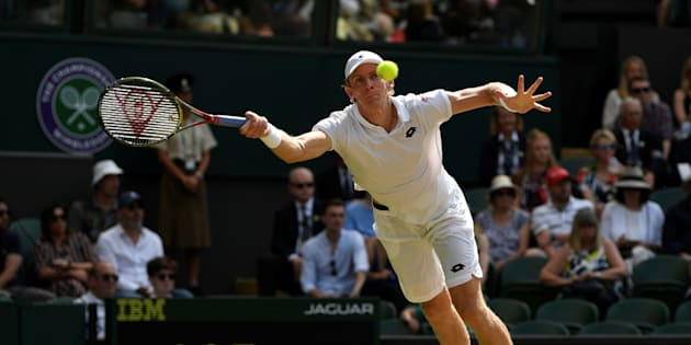 Kevin Anderson in action during his semi final-match against John Isner of the U.S.