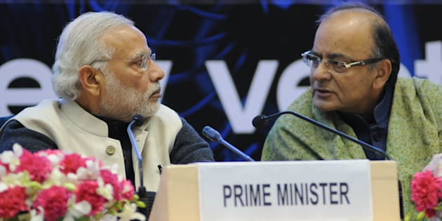 Prime Minister Narendra Modi and Finance Minister Arun Jaitley talk during an event to launch an initiative to bolster start-ups in New Delhi in January, 2016.