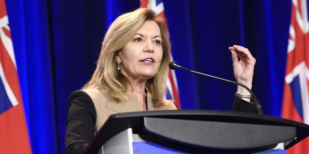 Christine Elliott participates in an Ontario PC leadership debate in Ottawa on Feb. 28, 2018.