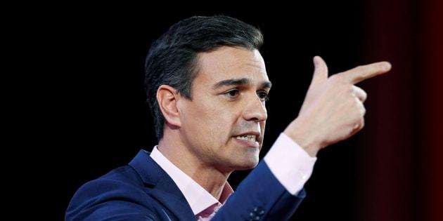Pedro Sanchez en meeting à Lisbonne au Portugal le 8 décembre.