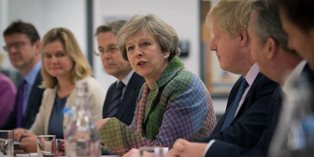 """Prime Minister Theresa May holds a regional cabinet meeting in Runcorn, Cheshire, as she launched her industrial strategy for post-Brexit Britain with a promise the Government will """"step up"""" and take an active role in backing business, Britain, January 23, 2017. REUTERS/Stefan Rousseau/Pool"""