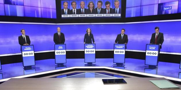 Candidats primaire de la droite lors du débat du 17 novembre 2016 (illustration)