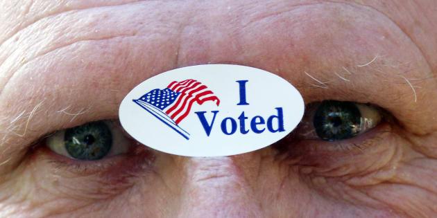 """En Floride, l'étiquette """"J'ai voté"""". Partout aux Etats-Unis, les votants peuvent manger à l'œil pendant une journée en arborant ce sticker."""