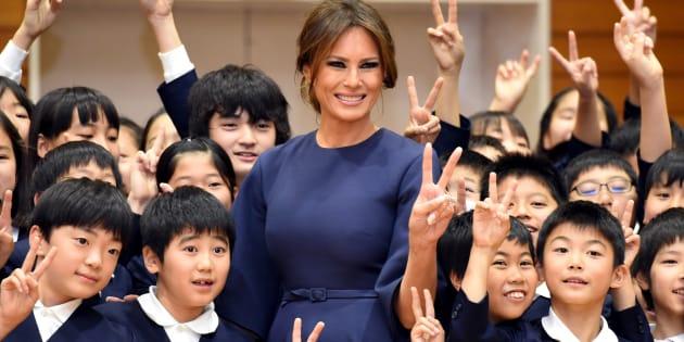 京橋築地小学校を訪問したメラニア夫人