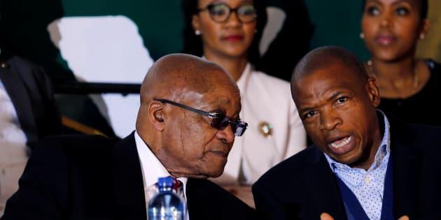 Jacob Zuma chats with Premier of North West Province Supra Mahumapelo last year.