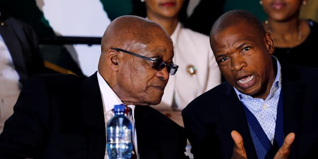 "Former president Jacob Zuma chats with premier of North West Supra Mahumapelo before addressing the National Youth Day commemoration, under the theme ""The Year of OR Tambo: Advancing Youth Economic Empowerment"", in Ventersdorp, South Africa June 16, 2017."