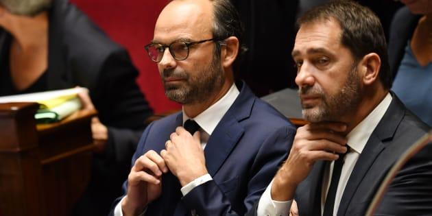 Le Premier ministre Edouard Philippe et Christophe Castaner durant les questions au gouvernement à l'Assemblée nationale, le 24 octobre 2017 à Paris.