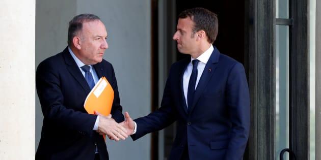 Pierre Gattaz, président du MEDEF, quittant le palais de Elysée, le 23 mai 2017, après une rencontre avec Emmanuel Macron.