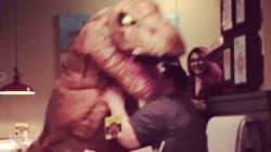 Woman Pops The Question To Boyfriend Wearing A T. Rex