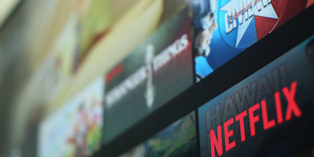 The Netflix logo is pictured on a television in this illustration photograph taken in Encinitas, California,on Jan. 18, 2017.