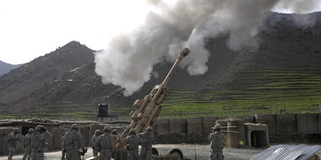 File photo of US soldiers firing practice shots using an M-777 howitzer.