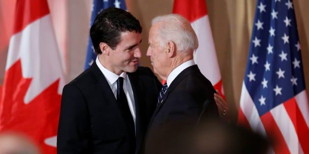 """Ici, le 8 décembre 2016: Joe Biden demande à Justin Trudeau d'être """"le garant des relations internationales"""""""