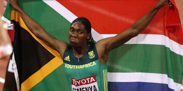 Caster Semenya of South Africa celebrates winning the final. REUTERS/John Sibley