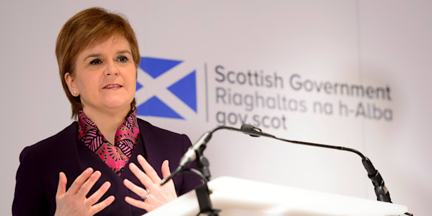 Scotland's First Minister Nicola Sturgeon speaks at the launch of an analysis paper on Scotland's future relationship with Europe, at the University of Edinburgh, Scotland, Britain January 15, 2018. REUTERS/John Linton/Pool
