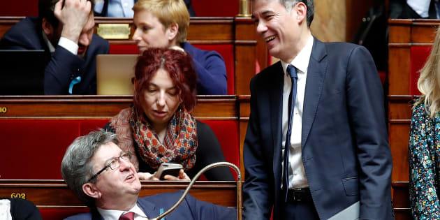 Malgré les annonces de Macron, la gauche va déposer une motion de censure à l'Assemblée (photo d'illustration de Jean-Luc Mélenchon et Olivier Faure en avril 2018)
