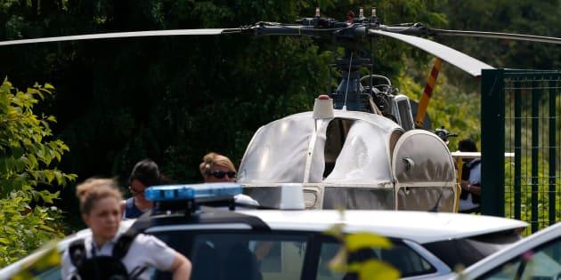 L'hélicoptère utilisé par Redoine Faïd pour s'évader de la prison de Réau, retrouvé abandonné à Gonesse, le 1er juillet 2018.