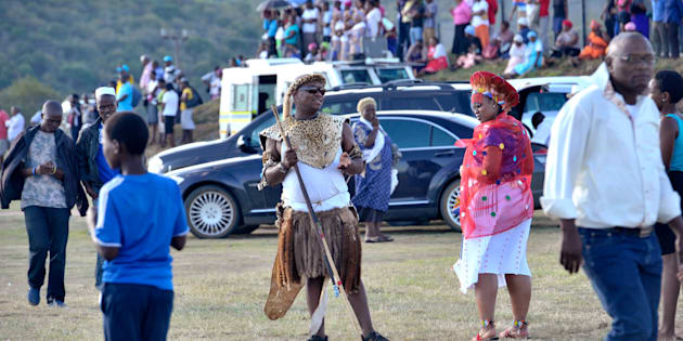 NKANDLA, SOUTH AFRICA - APRIL 20: (SOUTH AFRICA OUT) President Jacob Zuma's eldest son Edward Muzi Zuma chases the media away from the traditional wedding ceremony of President Jacob Zuma and Bongi Ngema in 2012 in Nkandla. Photo: City Press/Gallo Images/Getty Images