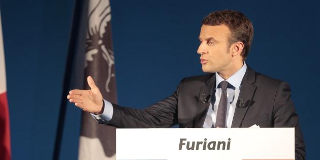 Emmanuel Macron à Furiani (Corse) en avril 2017, pendant la campagne présidentielle.