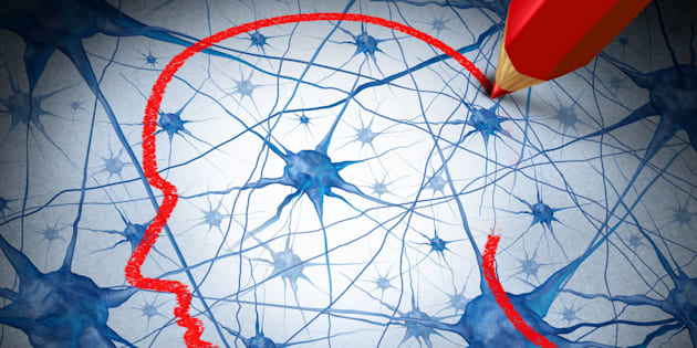 Neurology research concept examining the neurons of a human head to heal memory loss or cells due to dementia and other neurological diseases as a mental health metaphor for medical research hope.