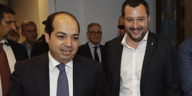 FILE - In this July 5, 2018 file photo, Italian Interior Minister Matteo Salvini, right, and Vice President of the Libyan Parliamentary Council Ahmed Maitig arrive for a press conference, at the Interior Ministry, in Rome. Five weeks after taking national office, opinion polls indicate that Salvini's anti-migrant, anti-European Union party has soared in popularity. (AP Photo/Andrew Medichini, file)