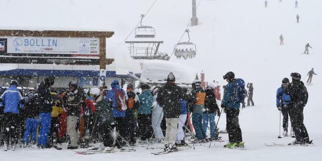 Des skieurs à Tignes le 7 mars 2017.