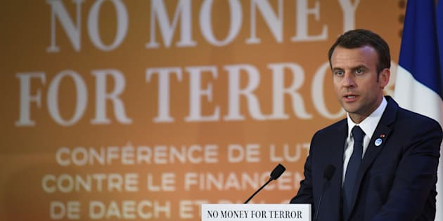 Emmanuel Macron, el presidente de Francia, durante su discurso de hoy en París.