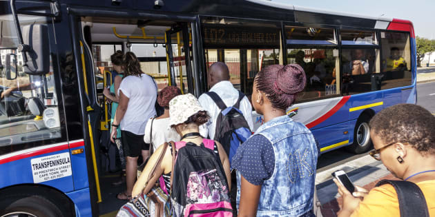 Jeffrey Greenberg  UIG via Getty Images                       South Africa Cape Town MyCiTi bus stop passengers boarding