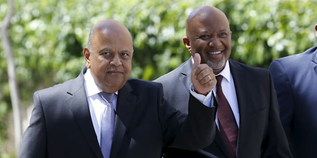 South Africa's Deputy Finance Minister Mcebisi Jonas (R) arrives with Finance Minister Pravin Gordhan for Gordhan's 2016 Budget address in Cape Town in this February 24, 2016 file photo.