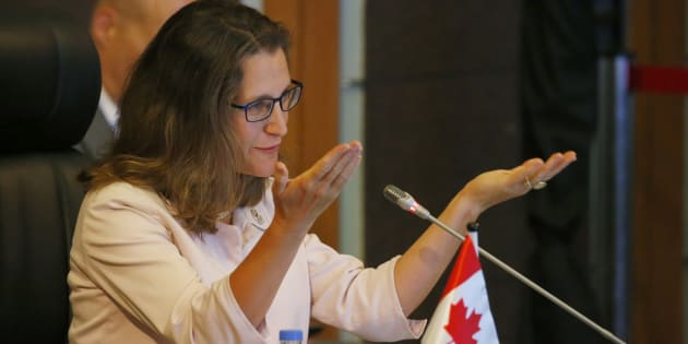 Foreign Affairs Minister Chrystia Freeland gestures as she delivers her statement at the ASEAN-Canada Ministerial Meeting during the 50th Association of Southeast Asian Nations (ASEAN) regional security forum in suburan Manila on Aug. 6, 2017.