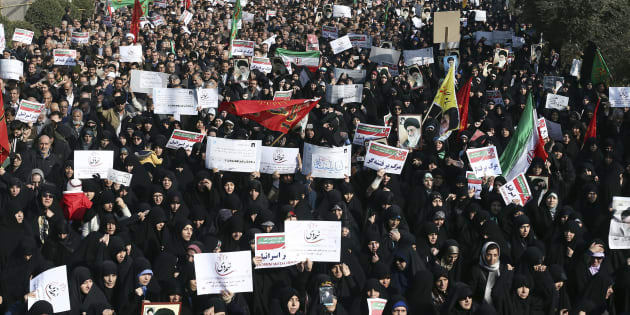 In this Dec. 30, 2017, photo, Iranian protesters chant slogans at a rally in Tehran, Iran.