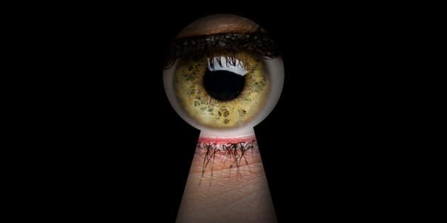 Green Woman Eye and Keyhole high quality studio shot