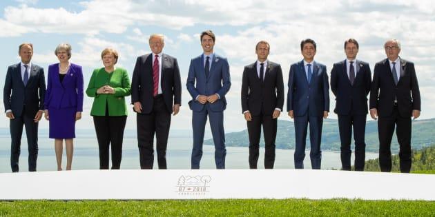 Les dirigeants réunis pour la photo de famille du G7 à La Malbaie au Québec le 8 juin 2018.