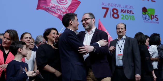 Newly-elected General Secretary of the French Socialist Party (PS) Olivier Faure (2-L) speaks to National Coordinator of the Socialist Party (PS) Rachid Temal (C), flanked by  Socialist Party former first secretary Jean-Christophe Cambadelis, during the party's 78th congress on April 8, 2018 in Aubervilliers.  / AFP PHOTO / Thomas SAMSON        (Photo credit should read THOMAS SAMSON/AFP/Getty Images)