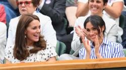 Duchess Of Cambridge, Duchess Of Sussex Attend Wimbledon In Crisp Summer