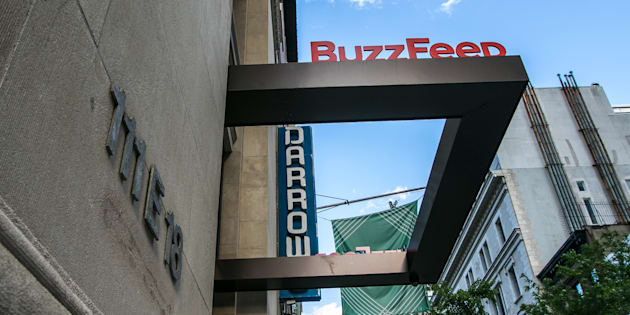 The BuzzFeed sign at the company headquarters is pictured in New York, June 22, 2016.