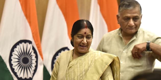 File photo of External Affairs Minister Sushma Swaraj and Minister of State VK Singh.