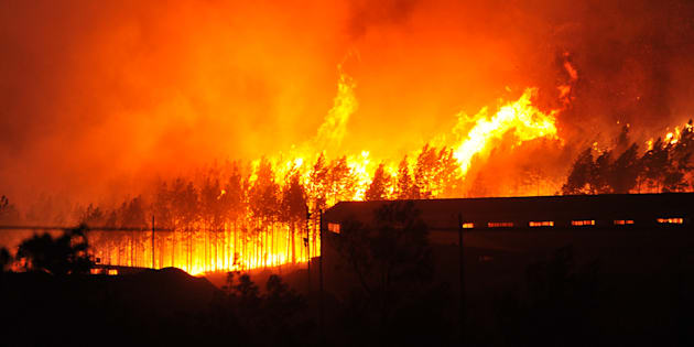 Fires raging at  Longmore Forest in Knysna, South Africa, on June 7 2017.